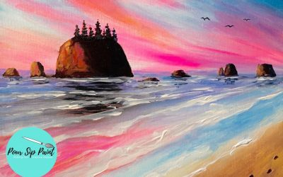 Pour, Sip, Paint: Footprints in the Sand